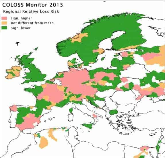 Índice de mortalidad de abejas en Europa 2014-2015